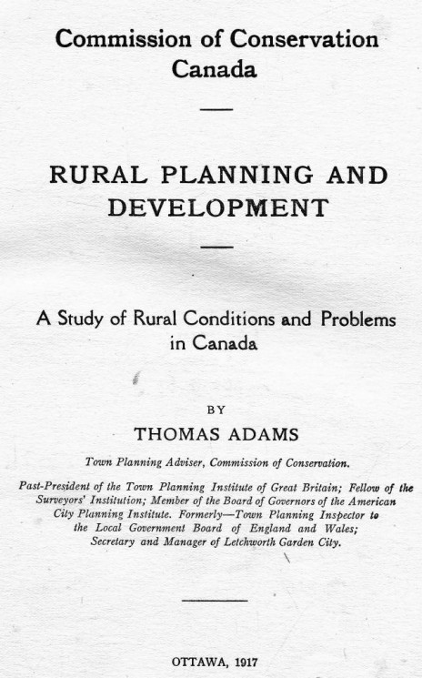Rural planning and development. A study of rural conditions and problems in Canada