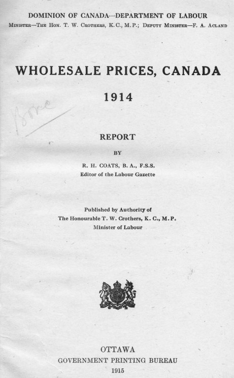 Wholesale prices, Canada, 1914. Report