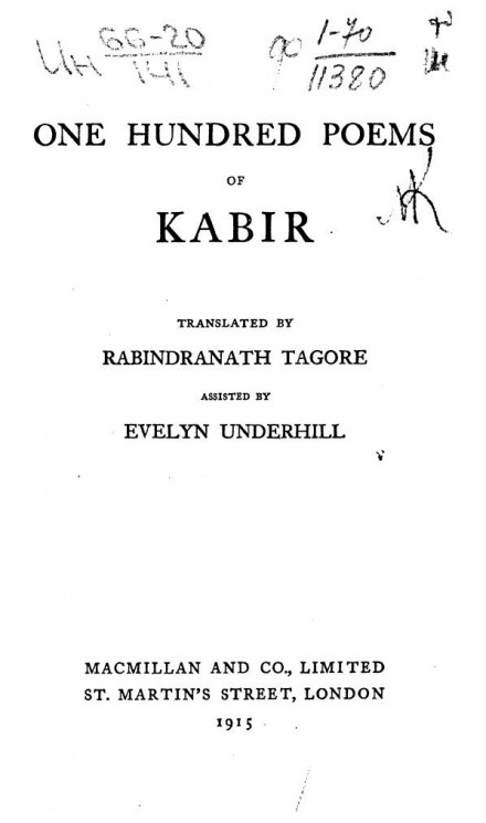 One hundred poems of Kabir