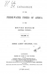 Catalogue of the fresh-water fishes of Africa in the British Museum (Natural history). Vol. 4