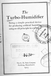 The turbo-humidifier. Being a simple practical device for producing artificial humidity using an old principle in a new way