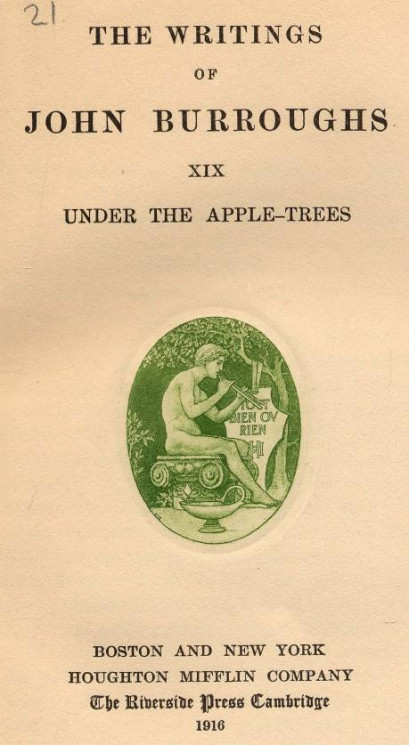 The writings of John Burroughs. Vol. 19. Under the apple-trees