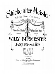 Stücke alter Meister. Bd. 1. № 1-6. Selected pieces of old masters für Violoncell und Klavier