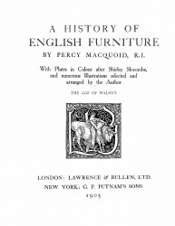 A history of English furniture. Volume 2. The age of walnut