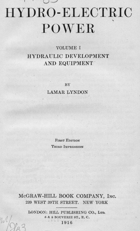 Hydro-electric power. Vol. 1. Hydraulic development and equipment. 1 edition. 3 impression